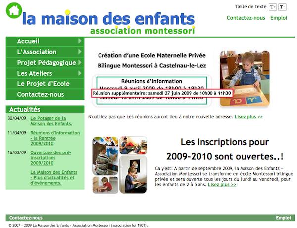 La page d'accueil du site de l'école...