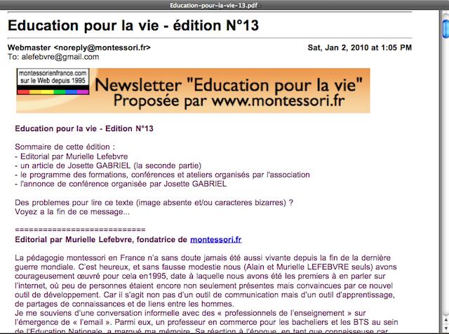 """La première page de notre lettre mensuelle """"éducation pour la vie"""" N°13"""