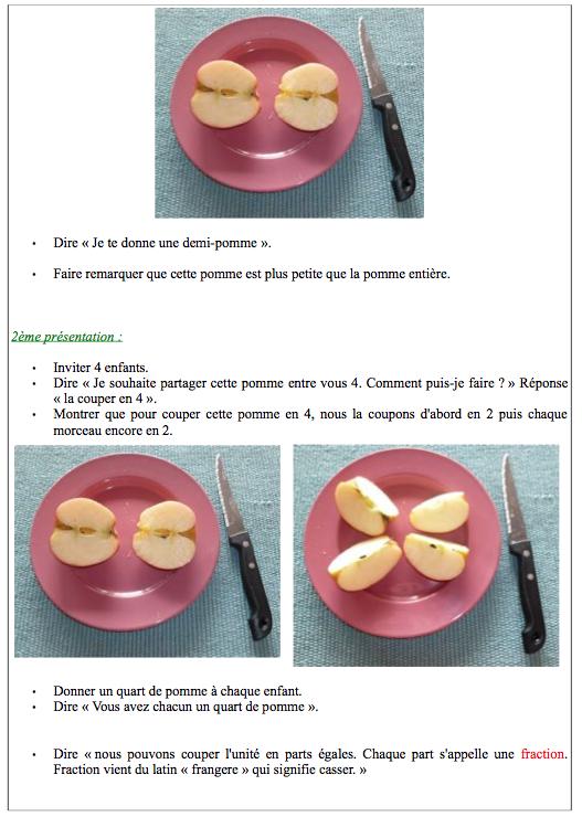 Exemple de leçons Montessori sur les fractions