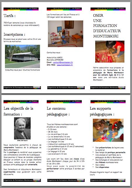 Oser une formation d'éducateur Montessori, notre brochure au format PDF