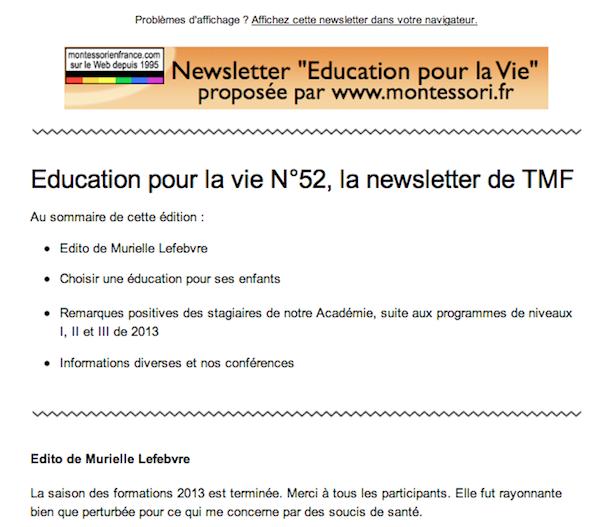 Education pour la vie, notre newsletter mensuelle.